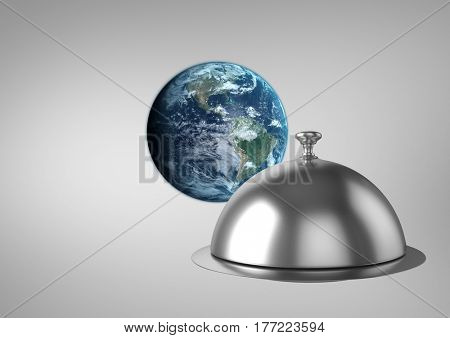 Digital composite of World and food platter against a grey background