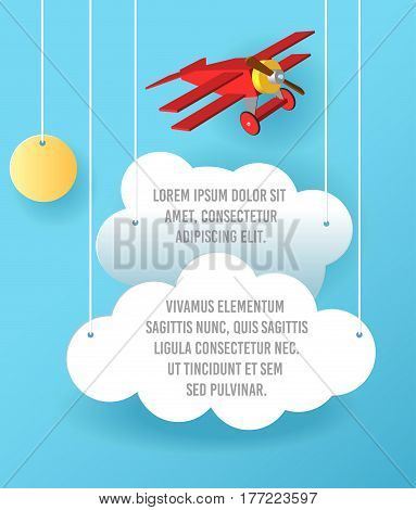 Vector Paper Art Of Cloud And Plane Flying In The Sky. Template Advertising Brochure With Space For