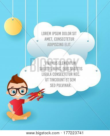 Vector Paper art of cloud and plane flying in the sky. Template advertising brochure with space for text. Origami concept Banner