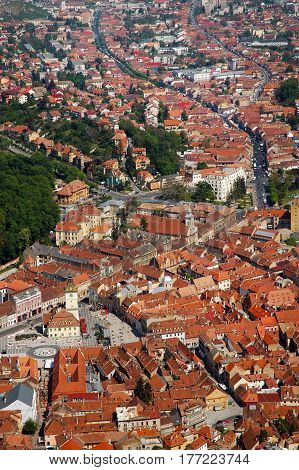 Aerial View Of The Old European City Of Brasov, Romania