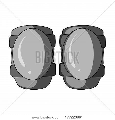 Protective knee pads for cyclists. Protection for athletes.Cyclist outfit single icon in monochrome style vector symbol stock web illustration.