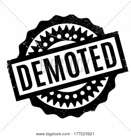 Demoted rubber stamp. Grunge design with dust scratches. Effects can be easily removed for a clean, crisp look. Color is easily changed.