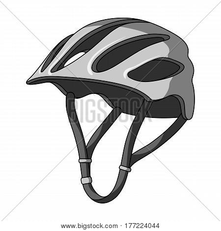 Protective helmet for cyclists. Protection for the head athletes.Cyclist outfit single icon in monochrome style vector symbol stock web illustration.