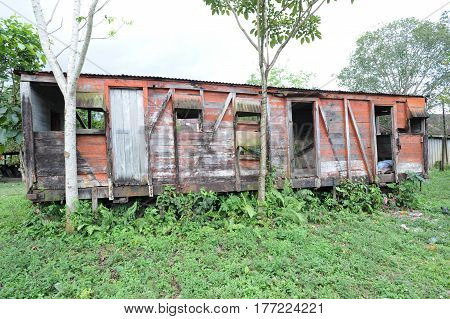 Abandoned train wagon at Quirigua on Guatemala