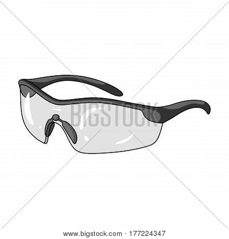 Protection for the eyes of cyclists from falling rocks.Cyclist outfit single icon in monochrome style vector symbol stock web illustration.
