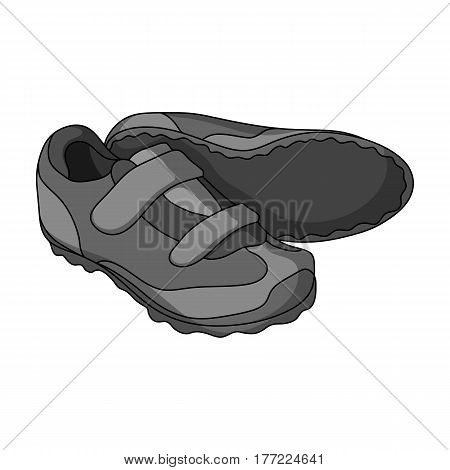 Shoes for cyclists. Special cycling for cycling.Cyclist outfit single icon in monochrome style vector symbol stock web illustration.