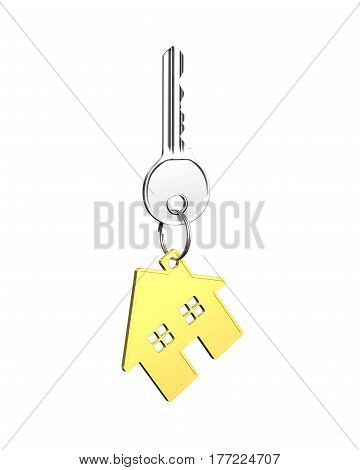 Silver Key With House Shape Key Ring
