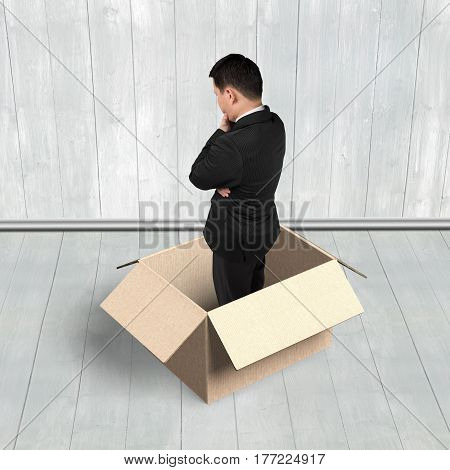 Man Thinking In The Opened Box