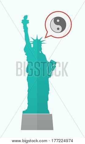 Isolated Statue Of Liberty With A Ying Yang
