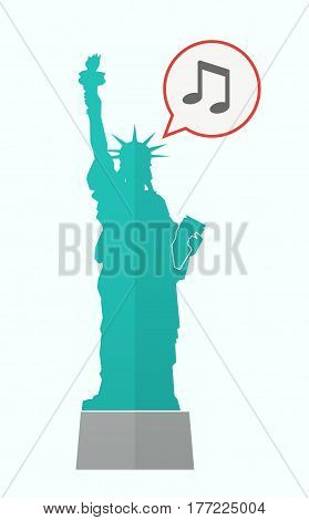 Isolated Statue Of Liberty With A Note Music