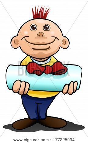 illustration of a boy giving present on isolated white background
