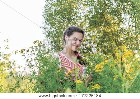 Smiling girl on nature near a tansy