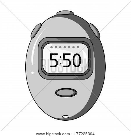 Stopwatch for calculating time and speed of travel.Cyclist outfit single icon in monochrome style vector symbol stock web illustration.