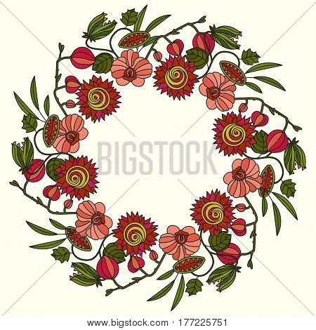 Round vector ornament with tropical flowers. tropic frame for your design.