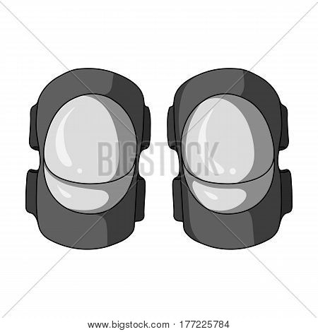 Protective elbow pads for cyclists. Protection for athletes.Cyclist outfit single icon in monochrome style vector symbol stock web illustration.