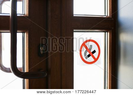 NO SMOKING sign in public place