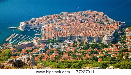 amazing aerial view of Dubrovnik medieval Old town, South Dalmatia, Croatia