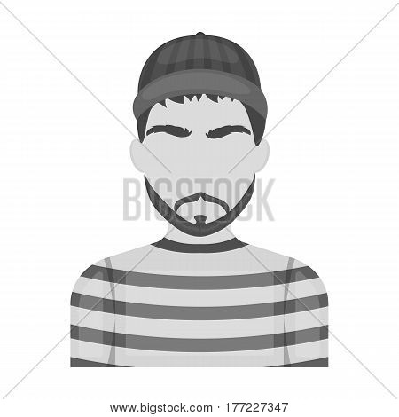Prisoner in the prison robe. The offender is punished.Prison single icon in monochrome style vector symbol stock web illustration.