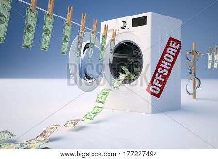 The concept of money laundering through offshore. 3D illustration