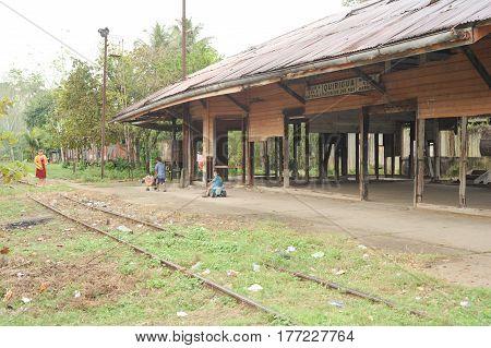 Quirigua, Guatemala - 24 January 2014: Abandoned train station of Quirigua on Guatemala