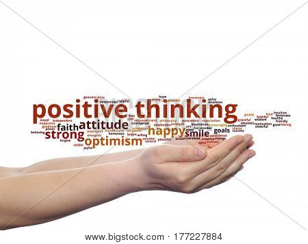 Concept or conceptual positive thinking, happy or strong attitude abstract word cloud in hands isolated on background