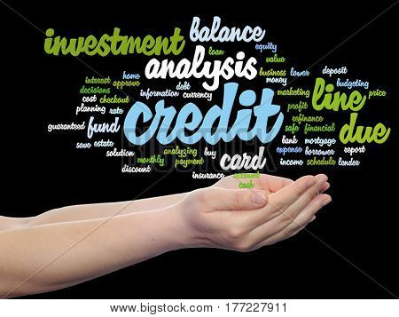 Concept or conceptual credit card line investment balance abstract word cloud in hands isolated on background