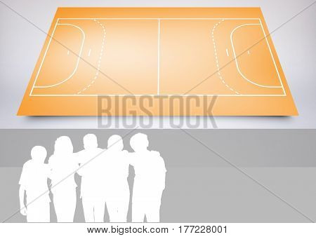 Digital composite of Kids Team Sport Playing Field composite against a grey background