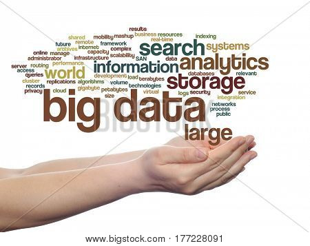 Concept or conceptual big data large size storage systems abstract word cloud in hands isolated on background