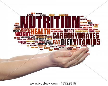 Concept or conceptual nutrition health or diet abstract word cloud in hand isolated on background