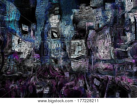 Times Square New York Painting. Picasso style. Words.
