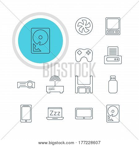 Vector Illustration Of 12 Notebook Icons. Editable Pack Of Printer, Cooler, Hard Drive Disk And Other Elements.