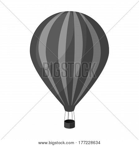 Air balloon for walking. Transport works on warm air. Transport single icon in monochrome style vector symbol stock web illustration.