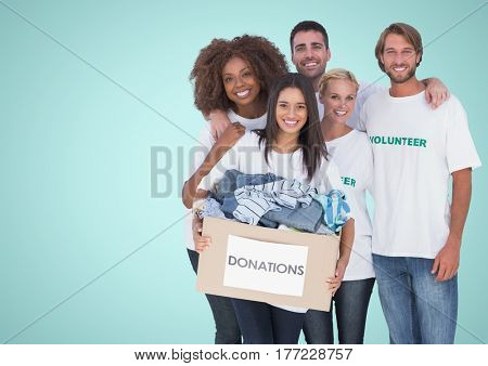 Digital composite of Volunteers Team smiling at camera against a light blue background