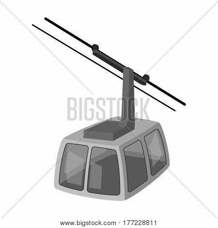Cable car. Funicular for climbing in the mountains. Holiday winter transport.Transport single icon in monochrome style vector symbol stock web illustration.