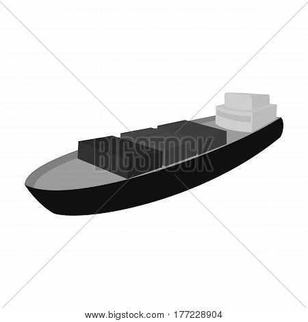 A ship for the transport of heavy goods over long distances by sea and ocean. Water freight transport.Transport single icon in monochrome style vector symbol stock web illustration.