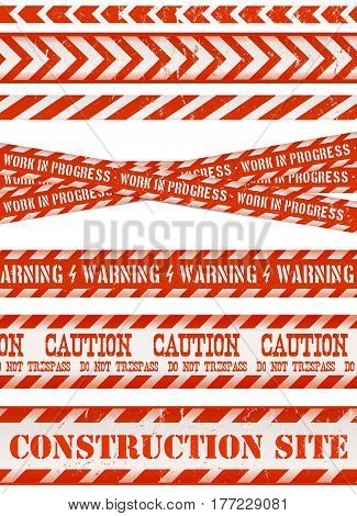 Illustration of a set of grunge work and do not cross lines danger sign under contruction warning tapes