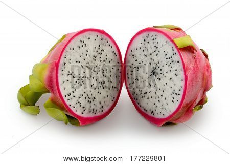 Dragonfruit isolated on white decorated with leafs and flowers