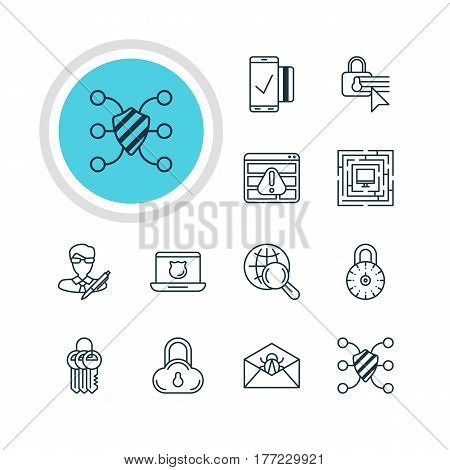Vector Illustration Of 12 Data Icons. Editable Pack Of Easy Payment, Browser Warning, Safeguard And Other Elements.