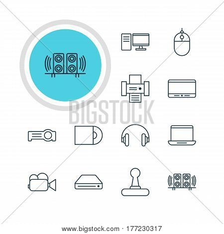 Vector Illustration Of 12 Accessory Icons. Editable Pack Of Headset, PC, Monitor And Other Elements.