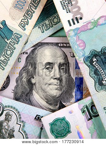 American Dollars and the Russian Roubles closeup