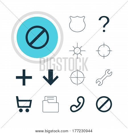 Vector Illustration Of 12 User Icons. Editable Pack Of Access Denied, Sunshine, Dossier And Other Elements.
