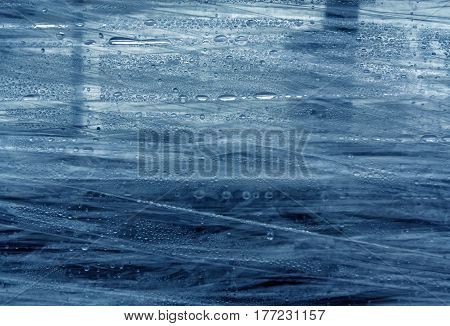 Blue Pvc Wrap Surface With Water Drops.
