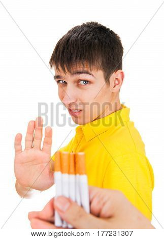 Young Man refuse a Cigarettes Isolated on the White Background