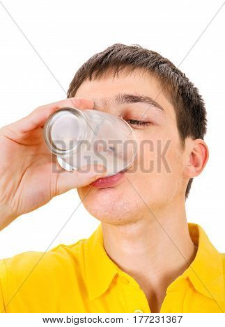 Young Man drink a Milk Isolated on the White Background