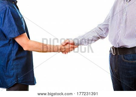 Two Persons Handshake Isolated on the White Background