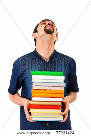 Tired Man with the Books Isolated on the White Background