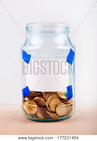 Russian Coins in the Jar on a Table