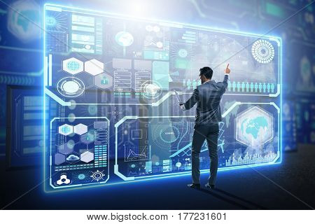 Businessman searching for big data