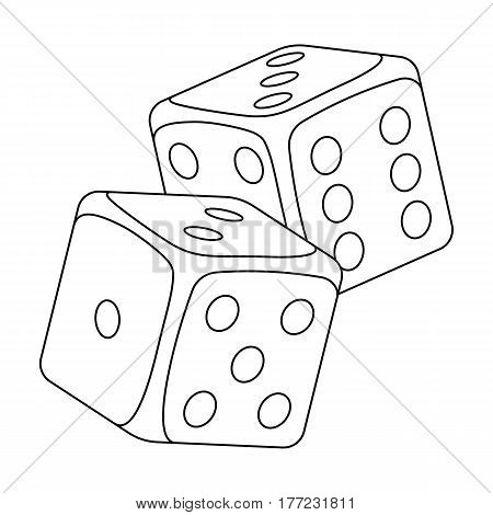 Dice for games in the casino. Stones to throw on the table for good luck.Kasino single icon in outline style vector symbol stock web illustration.