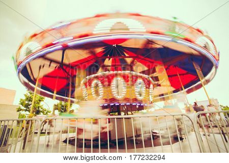 Merry-Go_Round Spinning at amusement park
